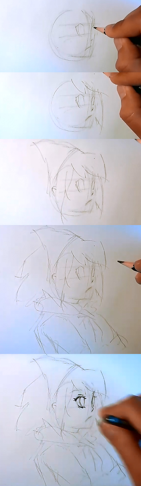 how to draw Anime face side view part 1