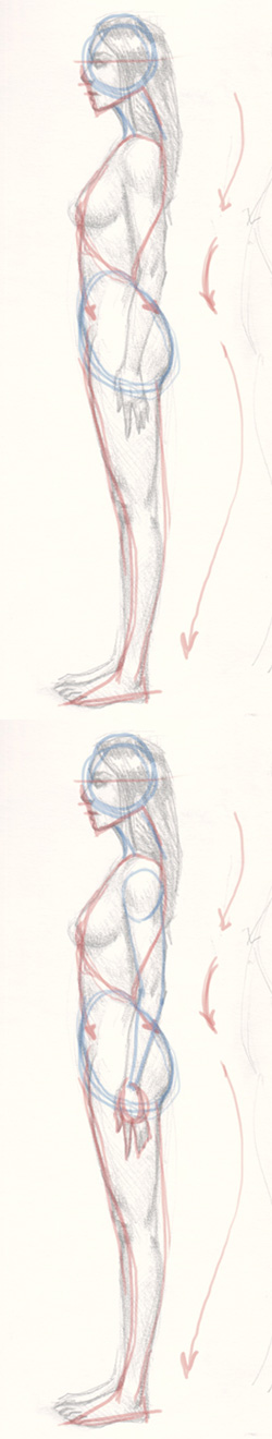 draw woman sideview