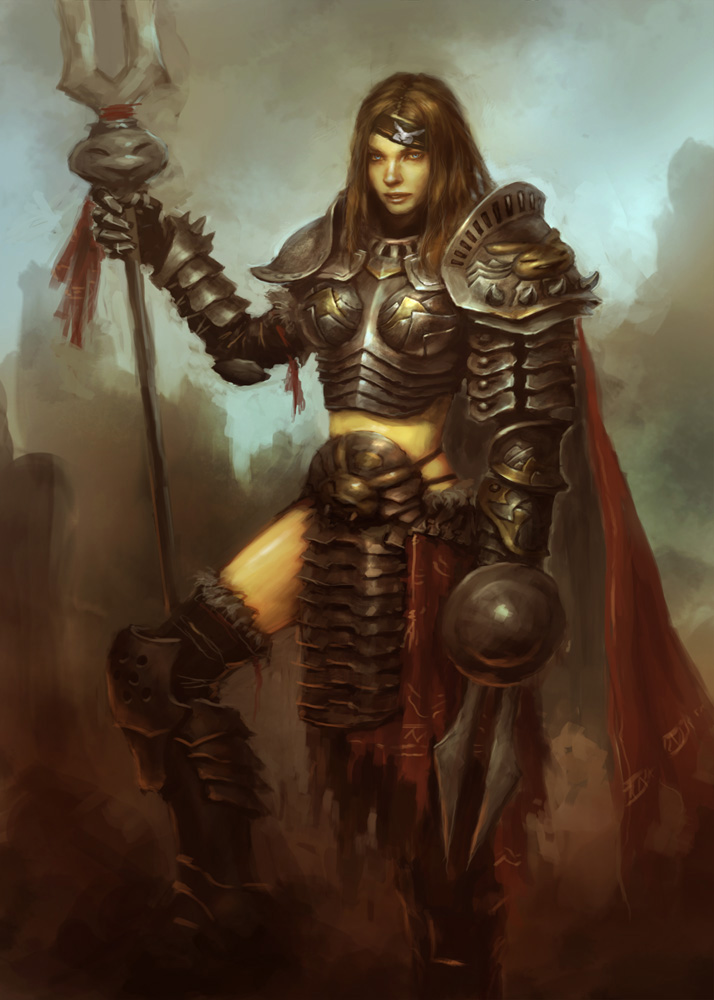 female knight concept How to paint character in steel armor