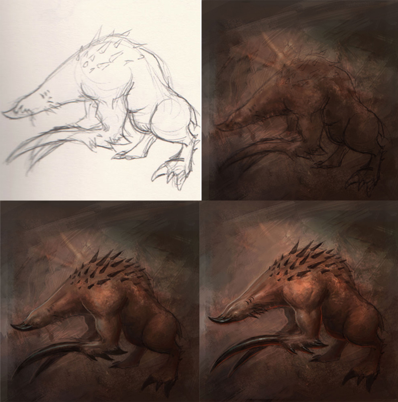 how to draw scary creature How to draw monster art concept