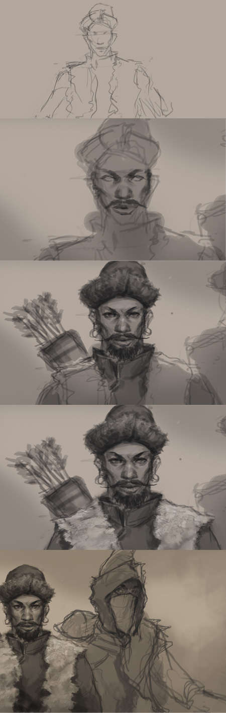 digital painting tutorial character design 01 How to draw Tatar warrior