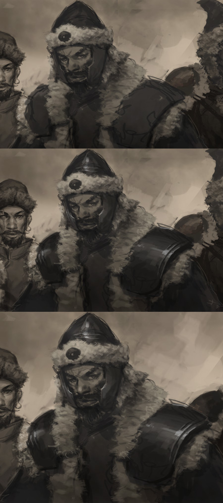 digital painting tutorial characters design How to draw Tatar warrior