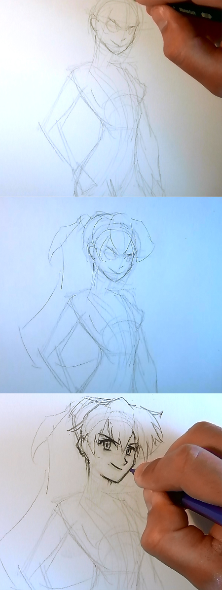 draw anime girl asuka step 2 How to draw Anime Asuka Evangelion
