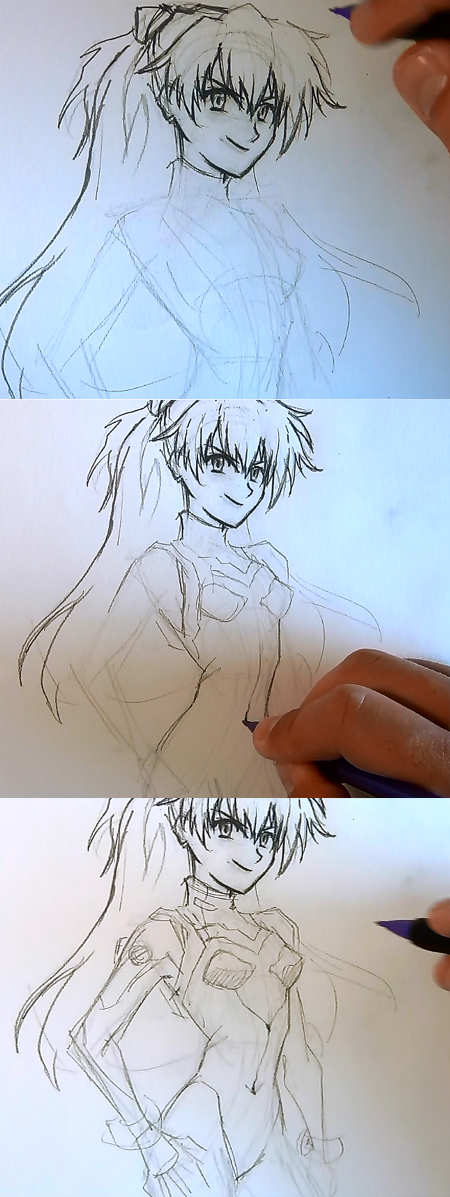 draw anime girl asuka step 3 How to draw Anime Asuka Evangelion