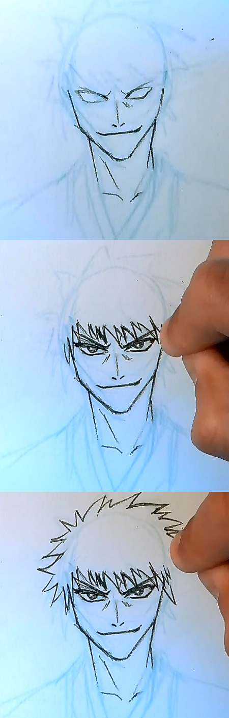 draw ichigo step 2 How to draw Ichigo Bleach