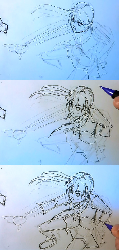 draw manga body perspective Draw Manga action pose top down