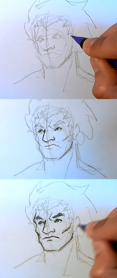 draw manga face strong guy How to draw Manga man face 3 different ways