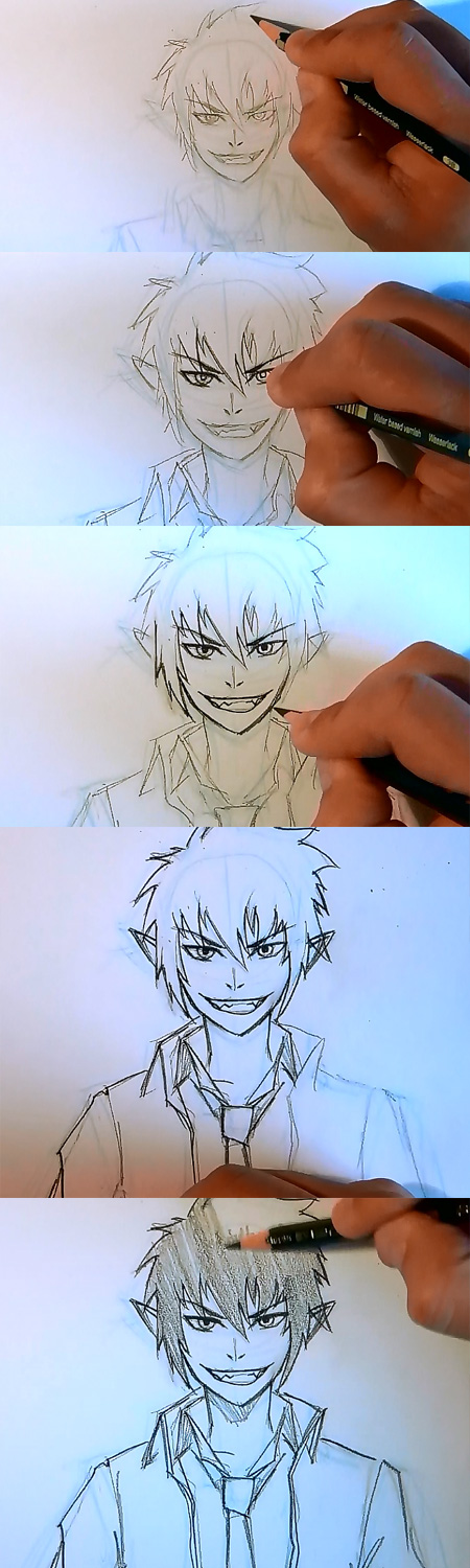 draw manga rin blue exorcist 1 How to draw Manga Rin Blue Exorcist