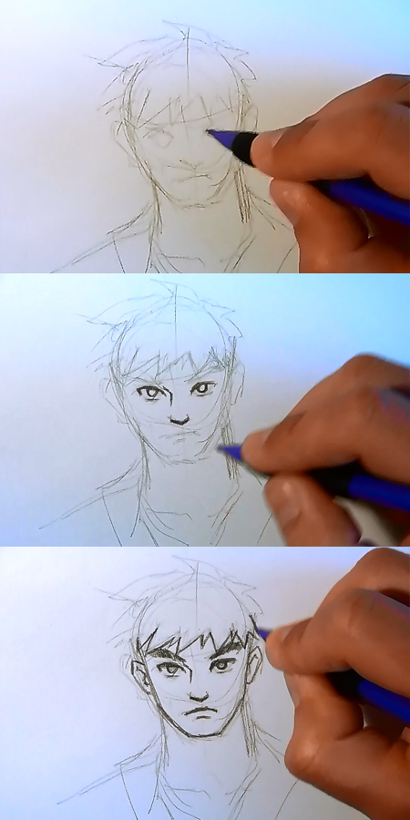 draw manga step by step face How to draw Manga man face 3 different ways