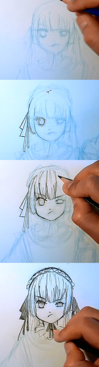 draw manga victorique gosick step 2 How to draw Manga Victorique