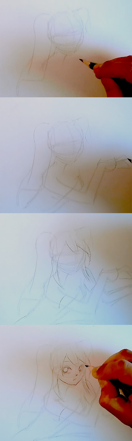 draw miku vocaloid step 1 How to draw Anime Miku Vocaloid