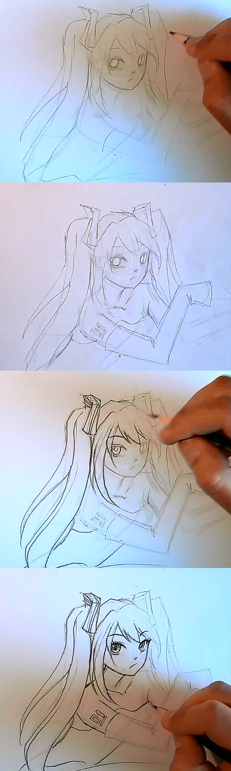 draw miku vocaloid step 2 How to draw Anime Miku Vocaloid