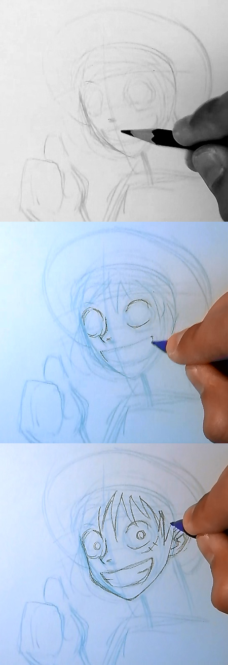 draw luffy one piece step 2