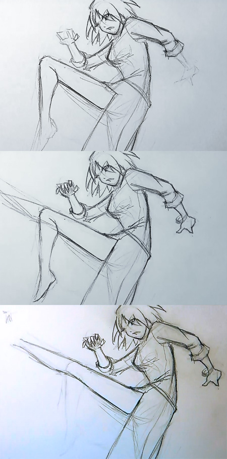 drawing manga action pose How to draw Manga kick pose