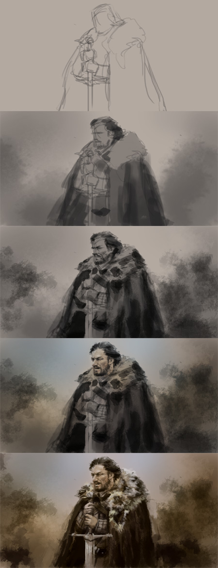 game of throne digital painting tutorial Speedpainting tutorial Eddard Stark