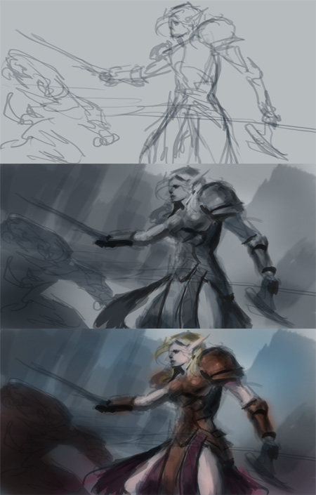 how to draw elf step 01 How to paint Blood Elf World of Warcraft