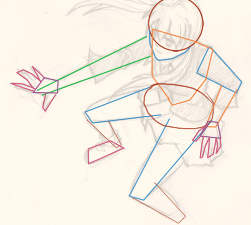 how to draw manga action pose Draw Manga action pose top down