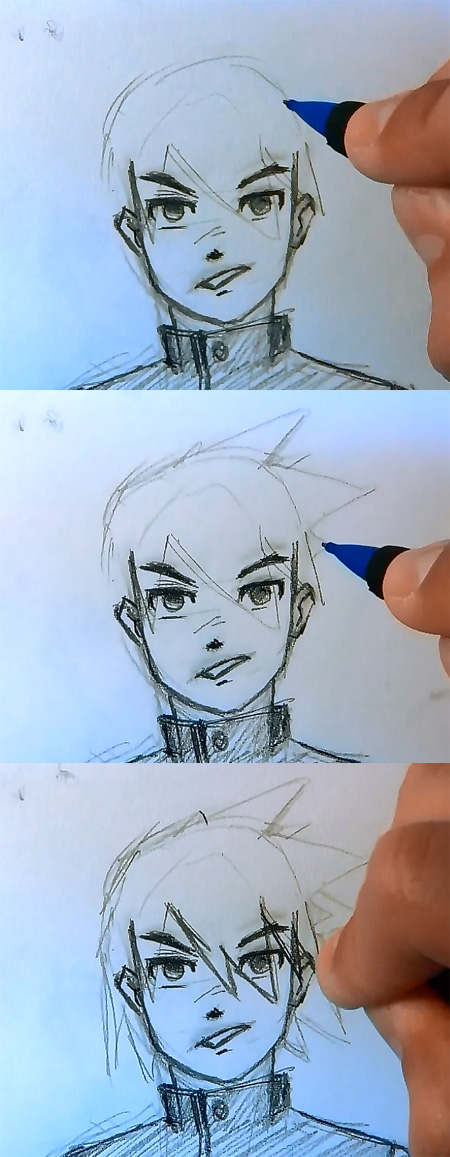 how to draw manga hair male Draw Manga man hair 4 different ways