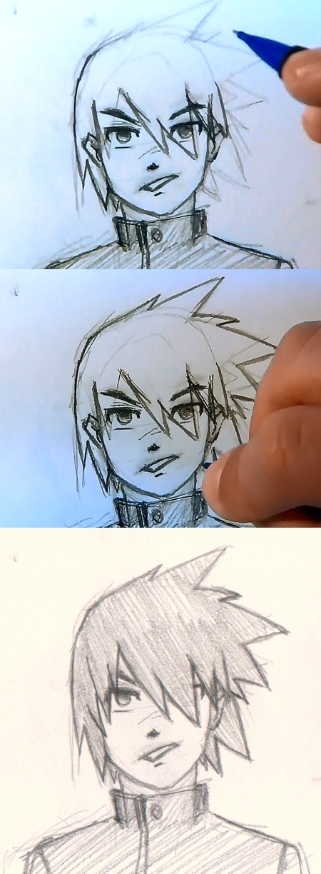how to draw manga hair spiky long Draw Manga man hair 4 different ways
