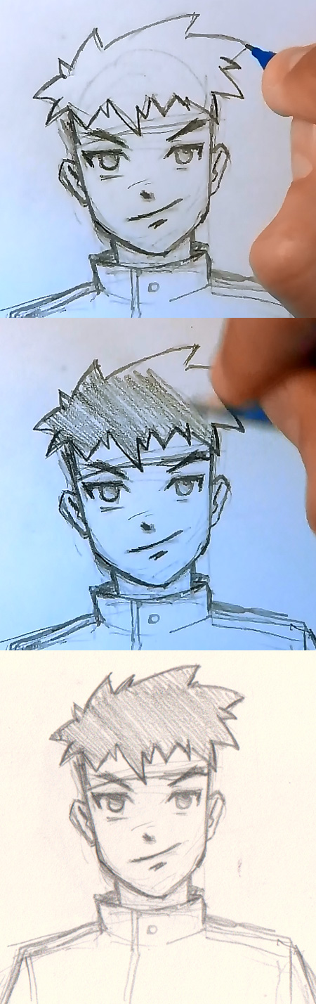 how to draw manga hair spiky short Draw Manga man hair 4 different ways