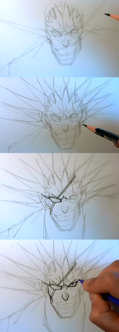 how to draw manga kenpachi bleach 02 How to draw Anime Kenpachi Bleach
