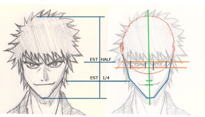ichigo drawing break down How to draw Ichigo Bleach