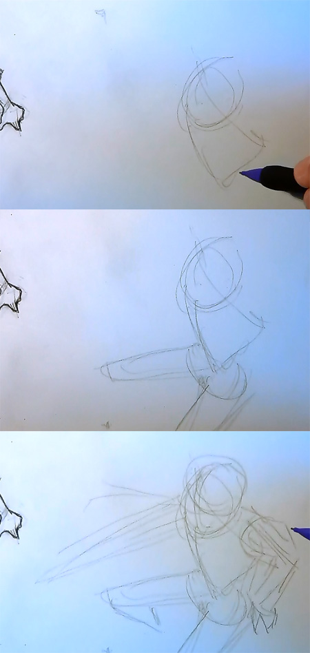 manga body perspective tutorial Draw Manga action pose top down