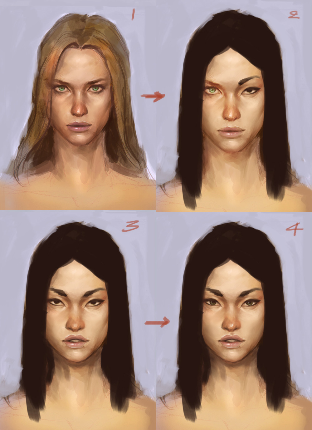 character design face tutorial asian Paint different ethnicity woman faces