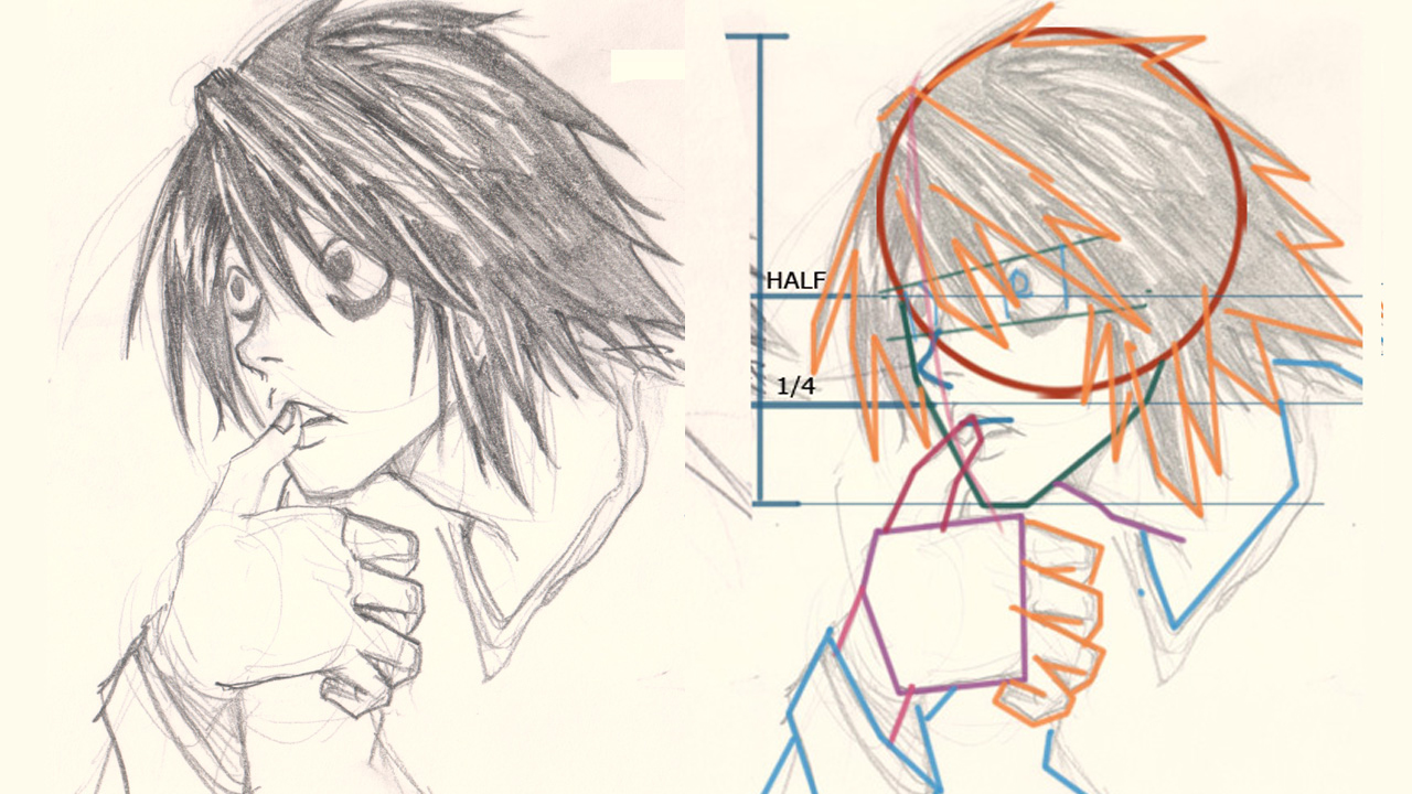 death note l drawing break down How to draw L Death Note