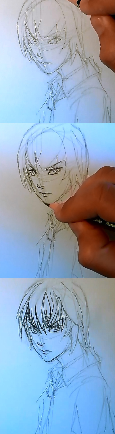 draw Death Note Light step 2