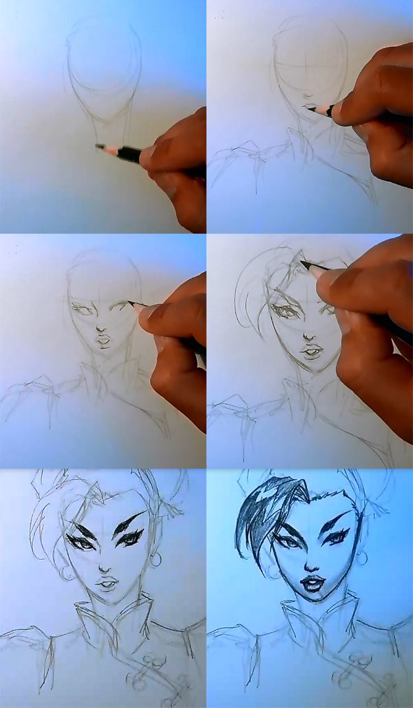 drawing chun li step by step How to draw comic woman face Chun Li