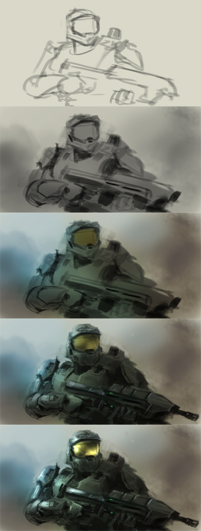 how to draw master chief halo
