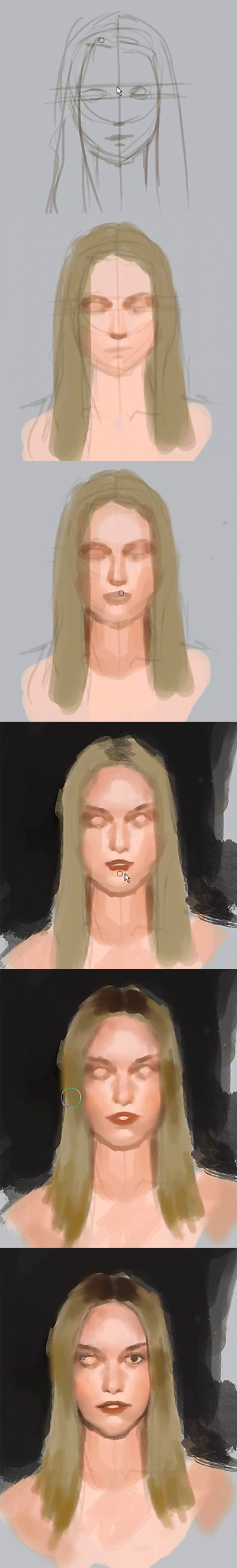 painting woman portrait step by step