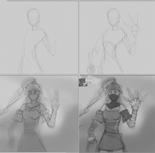 how to draw ninja girl