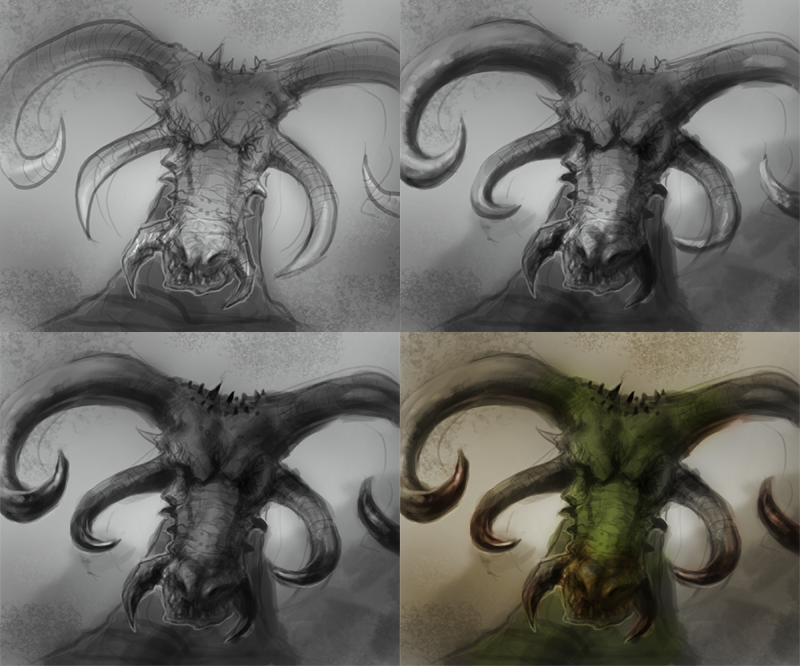 how to paint dragon head