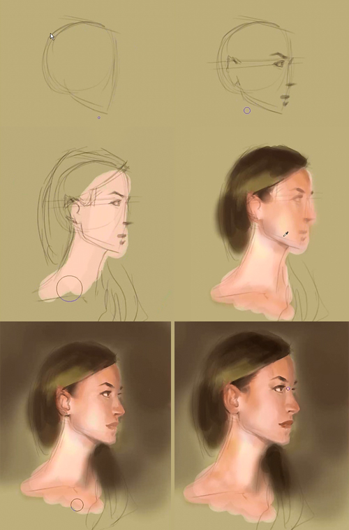 paint portrait profile step by step Painting a woman face side view