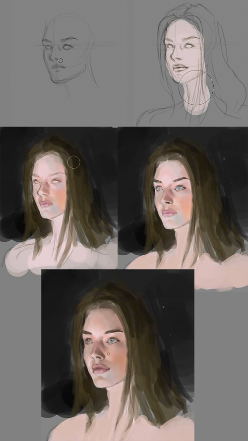 how to paint portrait three quarter view