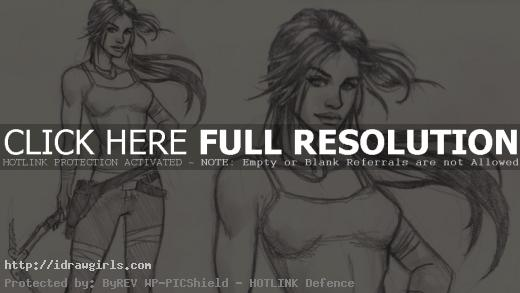 Draw and sketch woman step by step