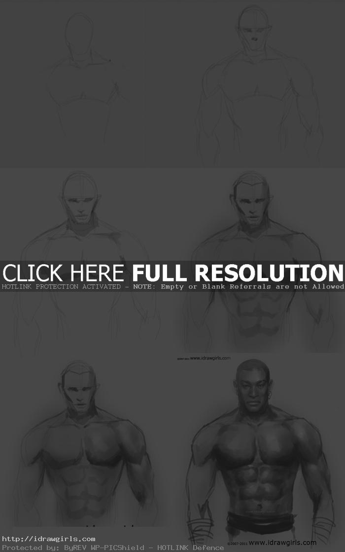 drawing man muscles step by step