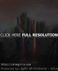 environmental concept painting magma cliff