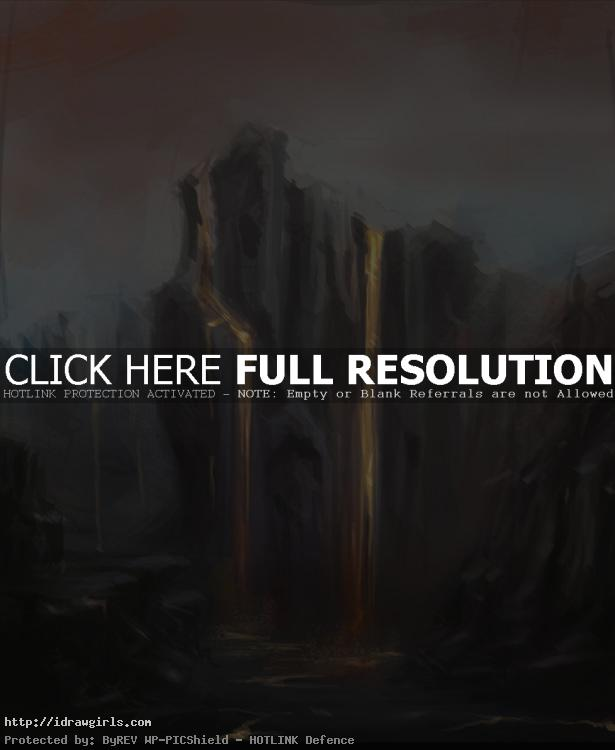 Environmental concept art magma cliff