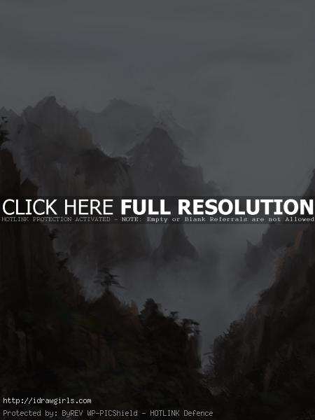 painting landscape foggy mountain