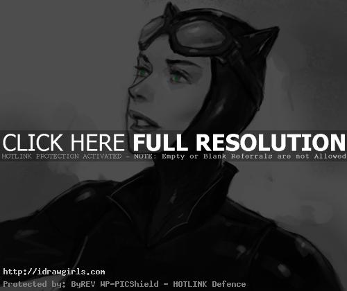 Catwoman face drawing