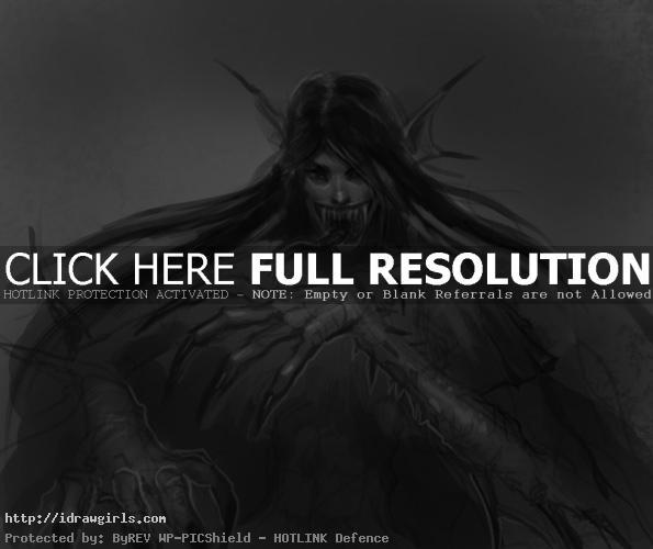 drawing vampire woman