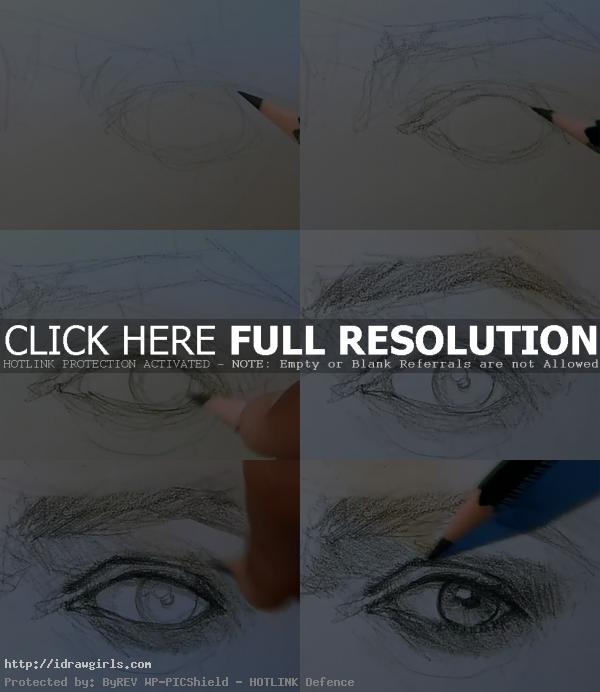 how to draw eye 3/4 view