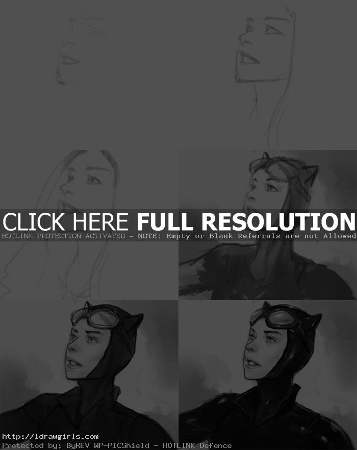 how to draw face of catwoman