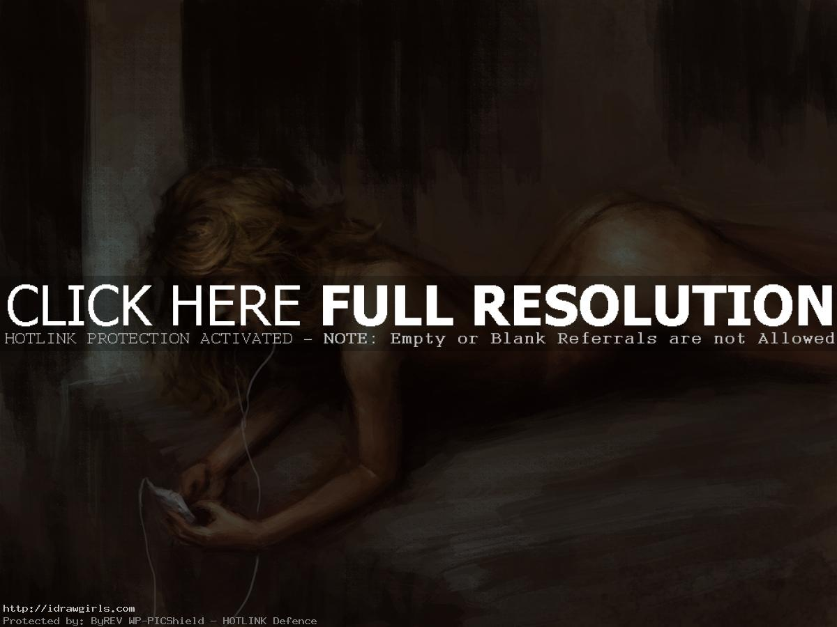 Painting reclining female figure