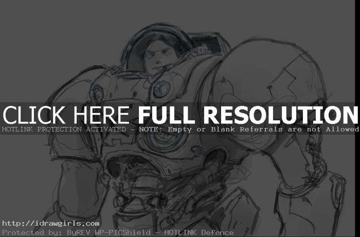 Starcraft marine drawing