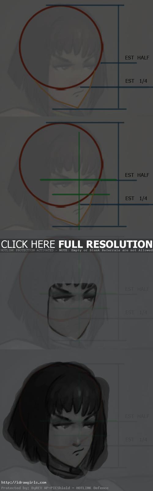 draw Anime grumpy face tutorial