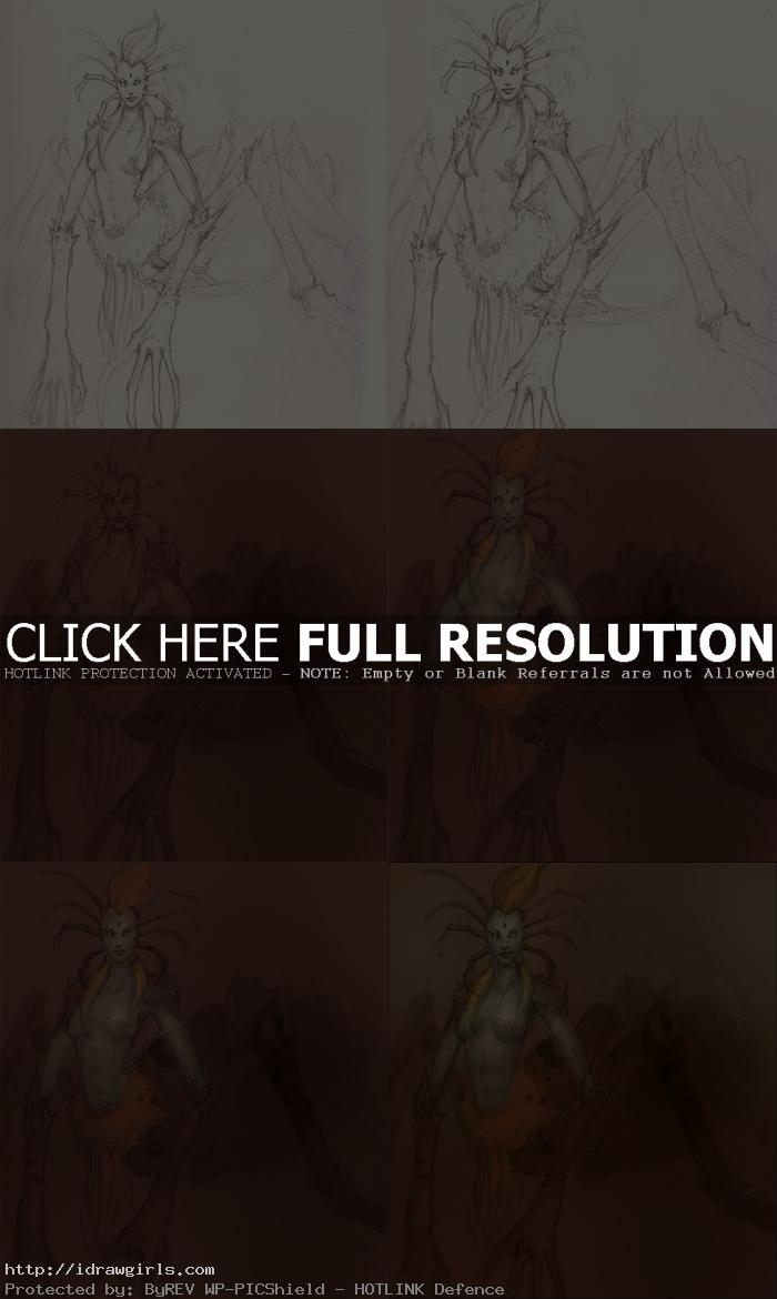 How to draw drider creature design